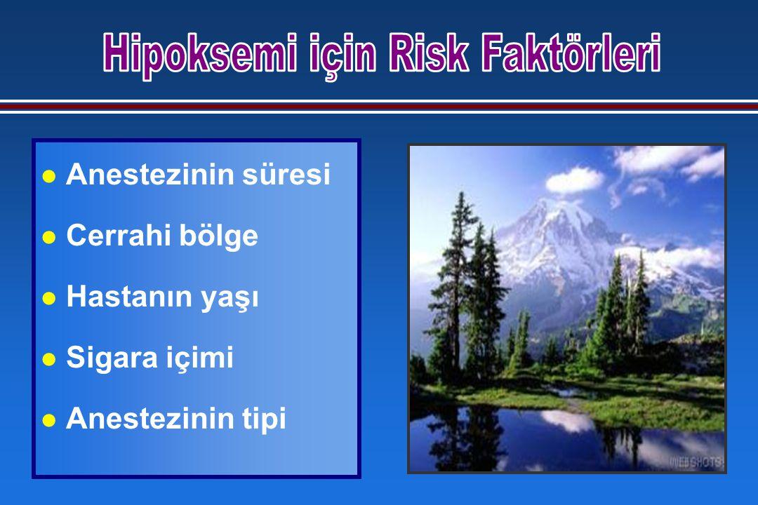 l Anestezinin süresi l Cerrahi bölge l Hastanın yaşı l Sigara içimi l Anestezinin tipi