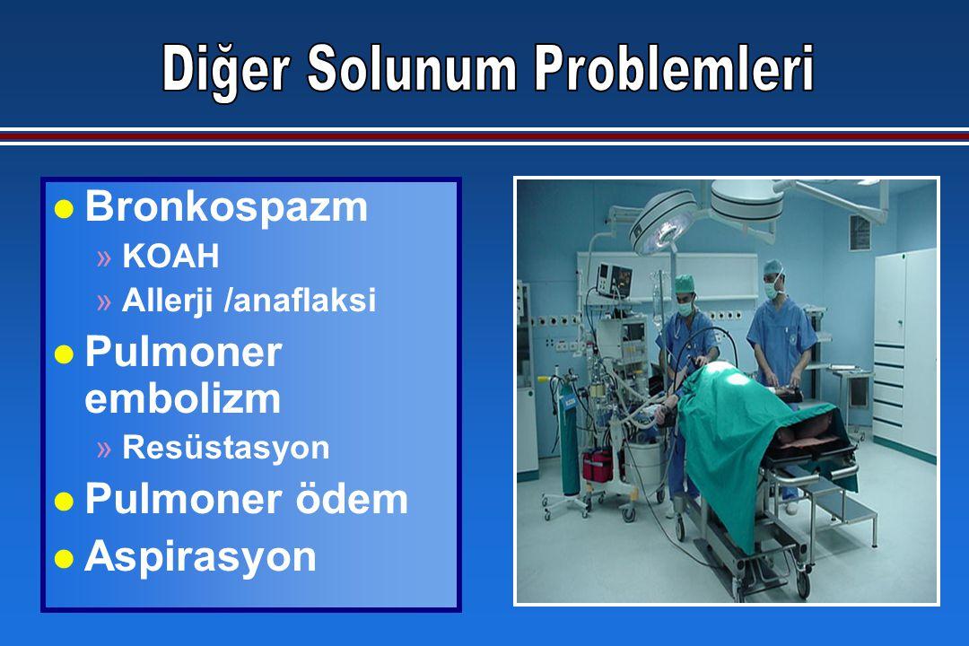 l Bronkospazm »KOAH »Allerji /anaflaksi l Pulmoner embolizm »Resüstasyon l Pulmoner ödem l Aspirasyon