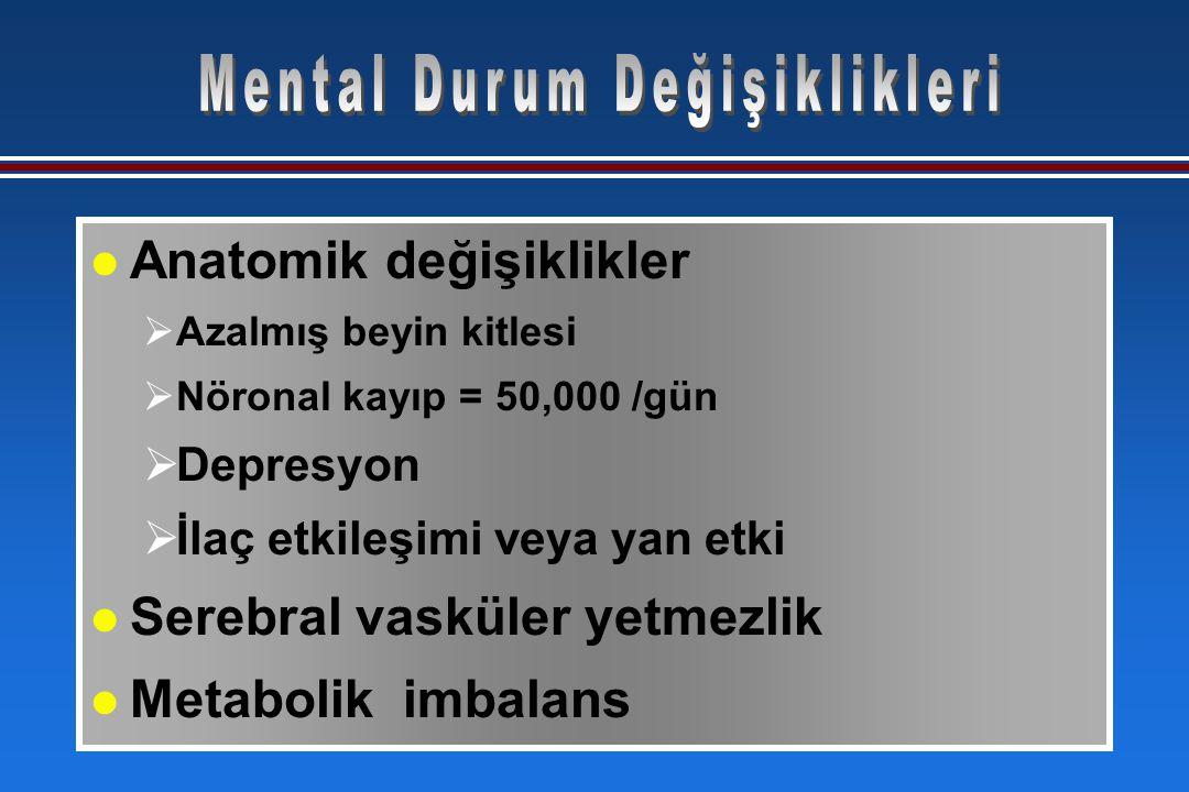 l Anatomik değişiklikler  Azalmış beyin kitlesi  Nöronal kayıp = 50,000 /gün  Depresyon  İlaç etkileşimi veya yan etki l Serebral vasküler yetmezlik l Metabolik imbalans