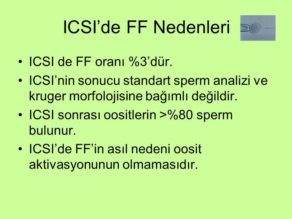 ICSI'de FF Nedenleri ICSI de FF oranı %3'dür. ICSI'nin sonucu standart sperm analizi ve kruger morfolojisine bağımlı değildir. ICSI sonrası oositlerin