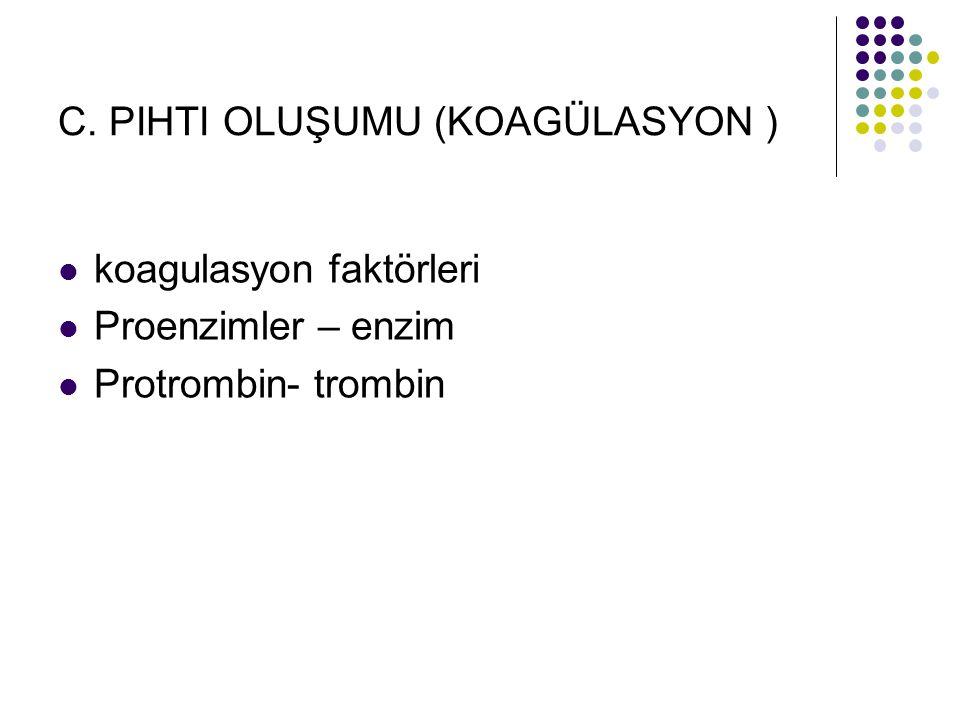 C. PIHTI OLUŞUMU (KOAGÜLASYON ) koagulasyon faktörleri Proenzimler – enzim Protrombin- trombin