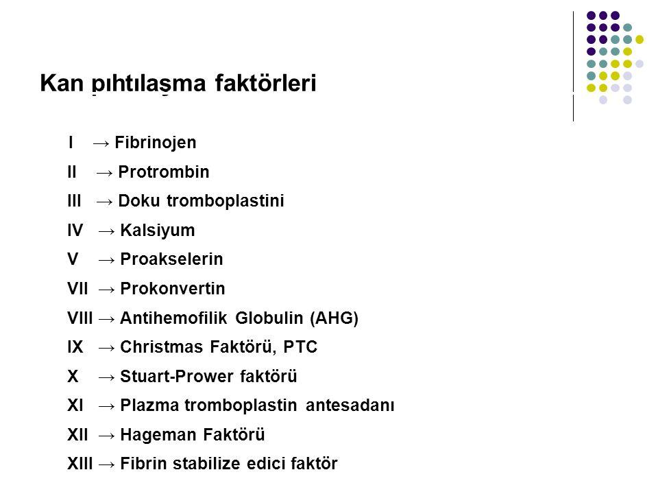 Kan pıhtılaşma faktörleri I → Fibrinojen II → Protrombin III → Doku tromboplastini IV → Kalsiyum V → Proakselerin VII → Prokonvertin VIII → Antihemofilik Globulin (AHG) IX → Christmas Faktörü, PTC X → Stuart-Prower faktörü XI → Plazma tromboplastin antesadanı XII → Hageman Faktörü XIII → Fibrin stabilize edici faktör