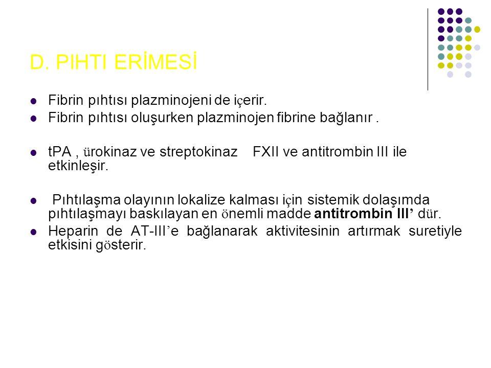 D.PIHTI ERİMESİ Fibrin pıhtısı plazminojeni de i ç erir.