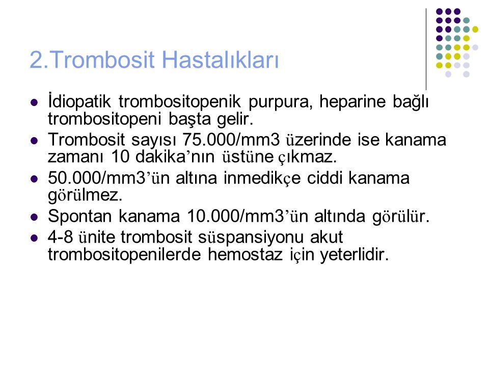 2.Trombosit Hastalıkları İdiopatik trombositopenik purpura, heparine bağlı trombositopeni başta gelir.