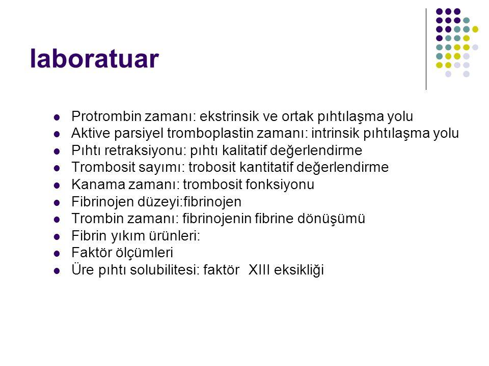 laboratuar Protrombin zamanı: ekstrinsik ve ortak pıhtılaşma yolu Aktive parsiyel tromboplastin zamanı: intrinsik pıhtılaşma yolu Pıhtı retraksiyonu: pıhtı kalitatif değerlendirme Trombosit sayımı: trobosit kantitatif değerlendirme Kanama zamanı: trombosit fonksiyonu Fibrinojen düzeyi:fibrinojen Trombin zamanı: fibrinojenin fibrine dönüşümü Fibrin yıkım ürünleri: Faktör ölçümleri Üre pıhtı solubilitesi: faktör XIII eksikliği