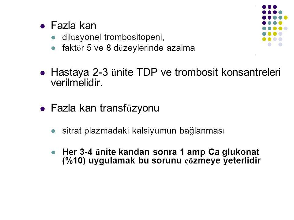 Fazla kan dil ü syonel trombositopeni, fakt ö r 5 ve 8 d ü zeylerinde azalma Hastaya 2-3 ü nite TDP ve trombosit konsantreleri verilmelidir.