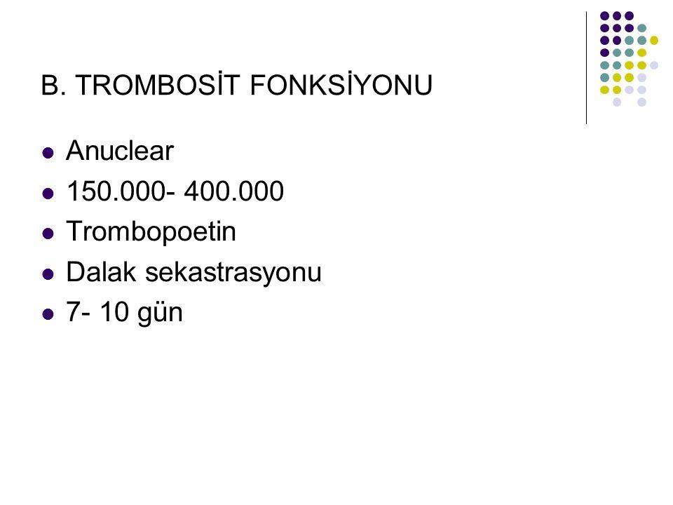 B. TROMBOSİT FONKSİYONU Anuclear 150.000- 400.000 Trombopoetin Dalak sekastrasyonu 7- 10 gün