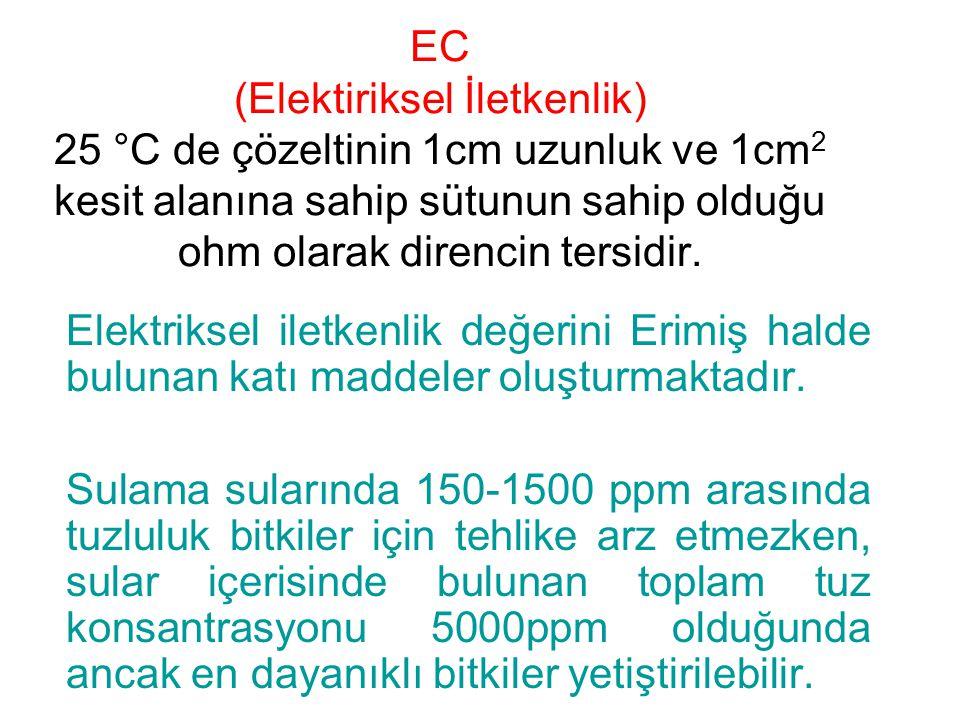 EC (Elektiriksel İletkenlik) 25 °C de çözeltinin 1cm uzunluk ve 1cm 2 kesit alanına sahip sütunun sahip olduğu ohm olarak direncin tersidir.