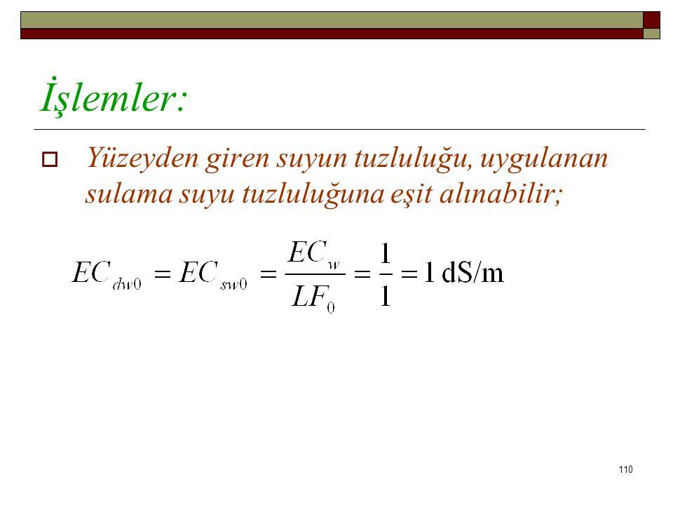  Yüzeyden giren suyun tuzluluğu, uygulanan sulama suyu tuzluluğuna eşit alınabilir; İşlemler: 110