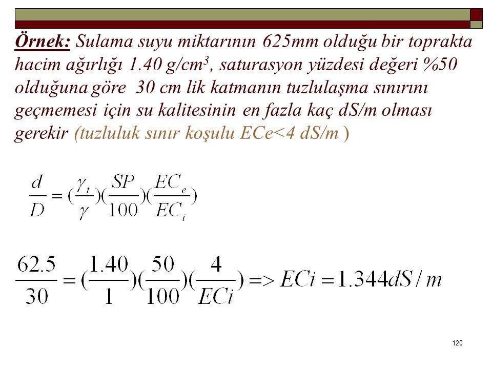 Örnek: Sulama suyu miktarının 625mm olduğu bir toprakta hacim ağırlığı 1.40 g/cm 3, saturasyon yüzdesi değeri %50 olduğuna göre 30 cm lik katmanın tuzlulaşma sınırını geçmemesi için su kalitesinin en fazla kaç dS/m olması gerekir (tuzluluk sınır koşulu ECe<4 dS/m ) 120