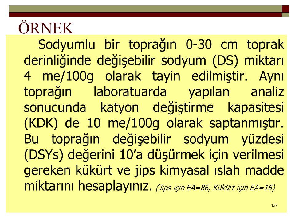 ÖRNEK Sodyumlu bir toprağın 0-30 cm toprak derinliğinde değişebilir sodyum (DS) miktarı 4 me/100g olarak tayin edilmiştir.