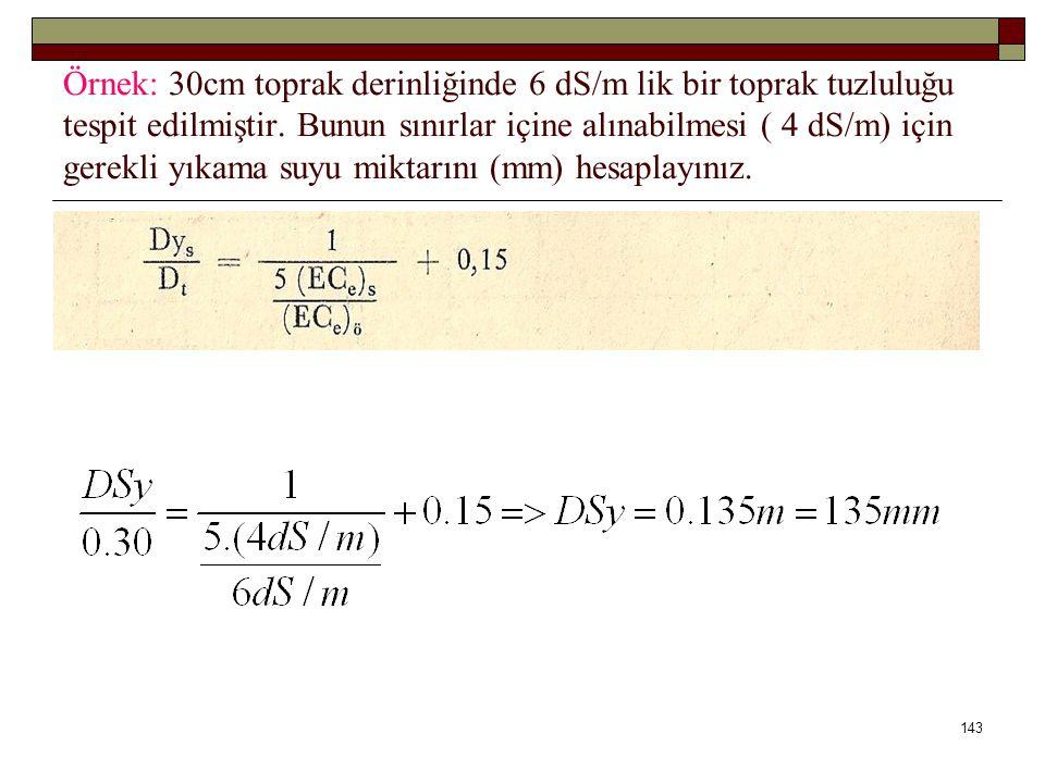 Örnek: 30cm toprak derinliğinde 6 dS/m lik bir toprak tuzluluğu tespit edilmiştir.
