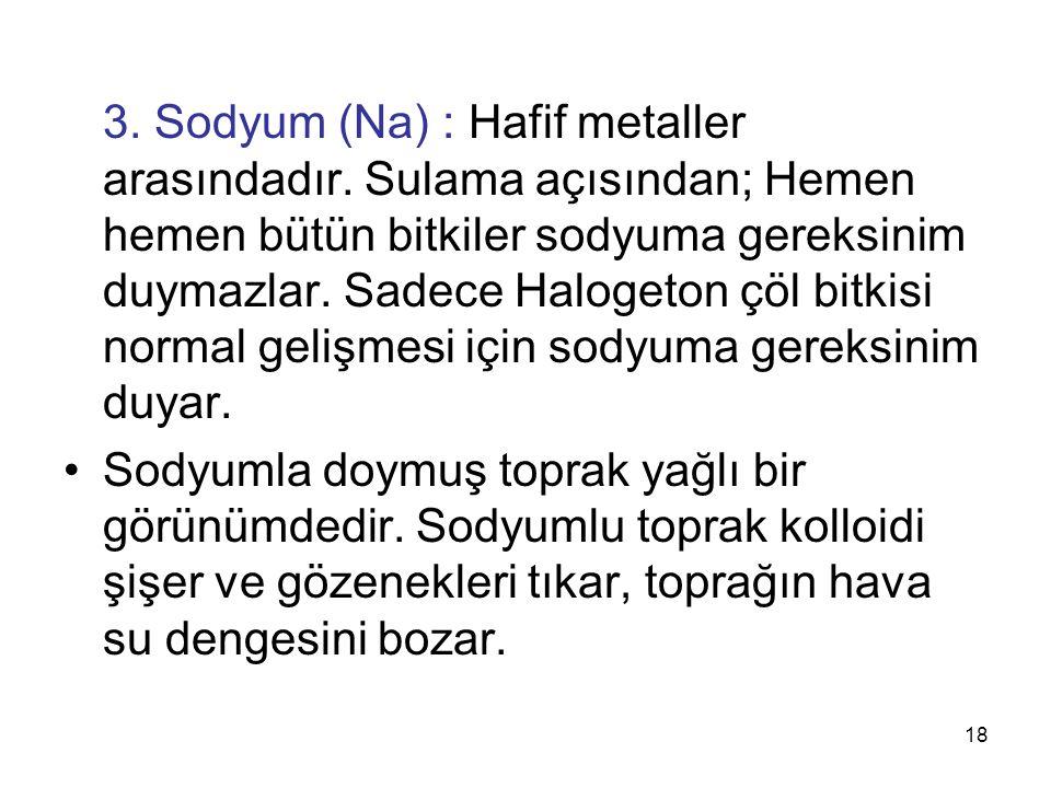 3.Sodyum (Na) : Hafif metaller arasındadır.