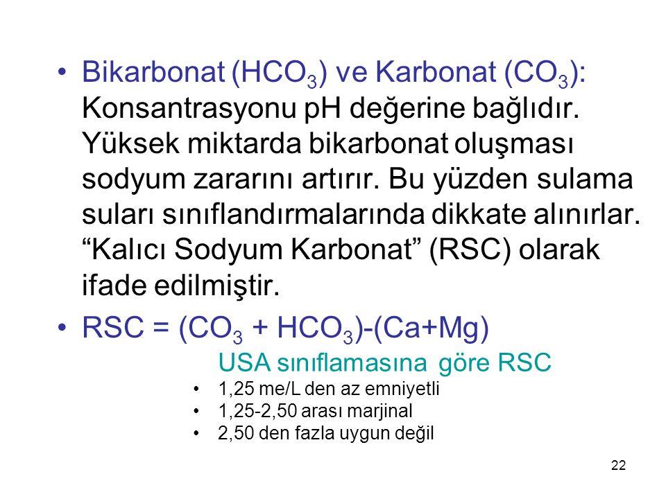 Bikarbonat (HCO 3 ) ve Karbonat (CO 3 ): Konsantrasyonu pH değerine bağlıdır.