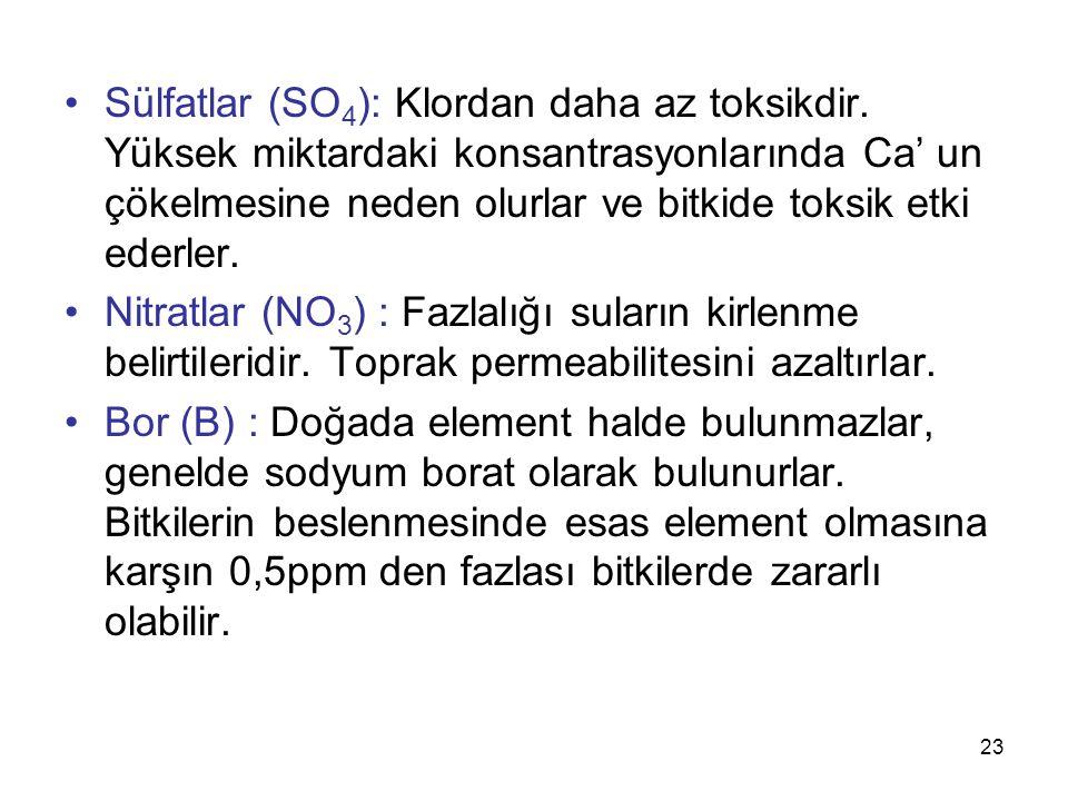 Sülfatlar (SO 4 ): Klordan daha az toksikdir.