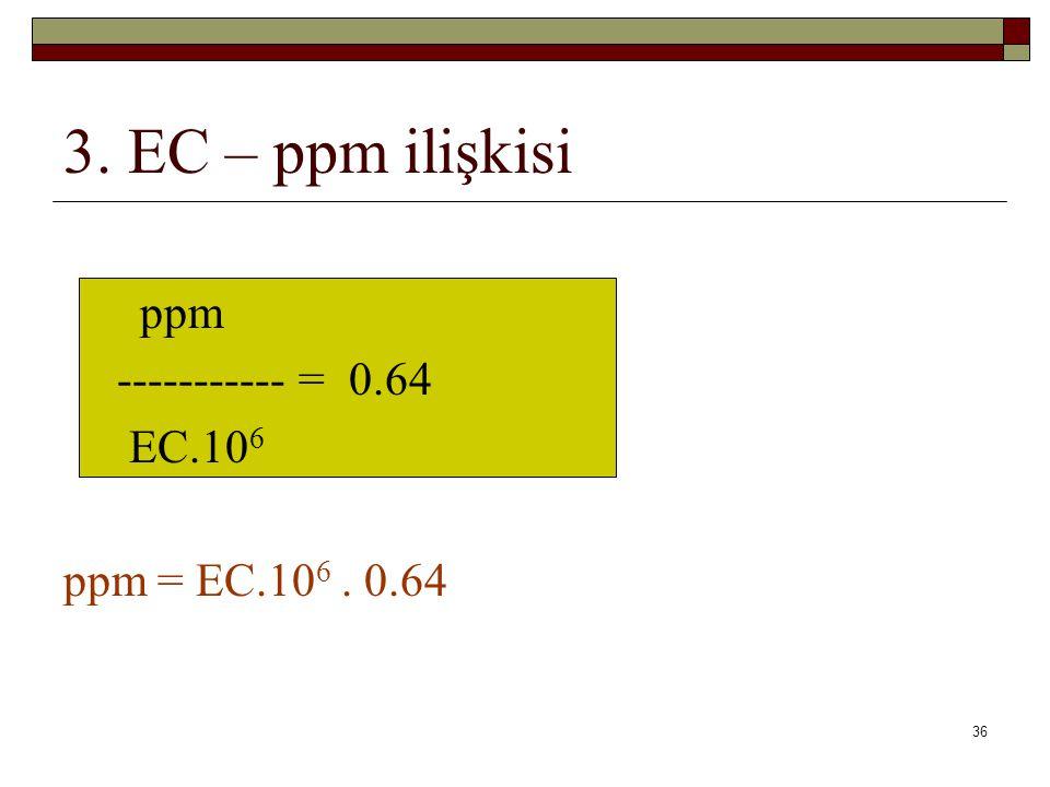 3. EC – ppm ilişkisi ppm ----------- = 0.64 EC.10 6 ppm = EC.10 6. 0.64 36