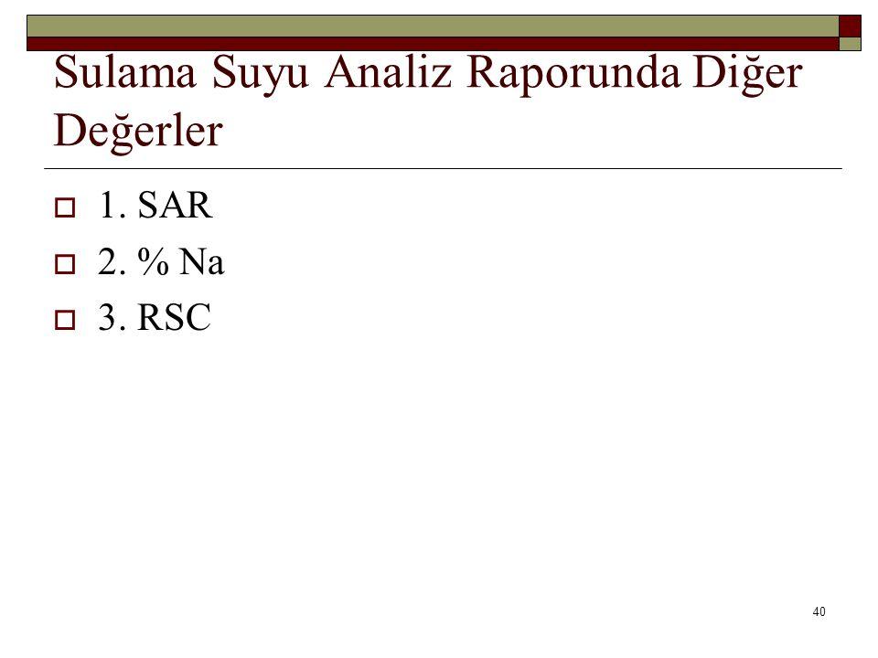 Sulama Suyu Analiz Raporunda Diğer Değerler  1. SAR  2. % Na  3. RSC 40