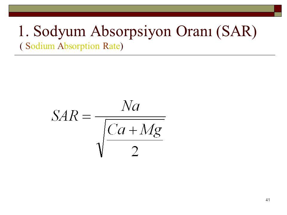 1. Sodyum Absorpsiyon Oranı (SAR) ( Sodium Absorption Rate) 41
