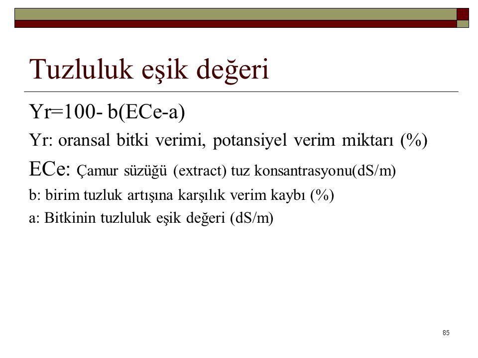 Tuzluluk eşik değeri Yr=100- b(ECe-a) Yr: oransal bitki verimi, potansiyel verim miktarı (%) ECe: Çamur süzüğü (extract) tuz konsantrasyonu(dS/m) b: birim tuzluk artışına karşılık verim kaybı (%) a: Bitkinin tuzluluk eşik değeri (dS/m) 85