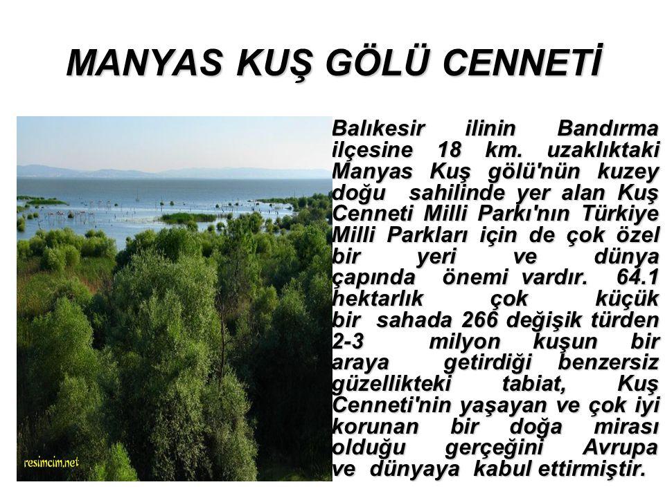 MANYAS KUŞ GÖLÜ CENNETİ Balıkesir ilinin Bandırma ilçesine 18 km.