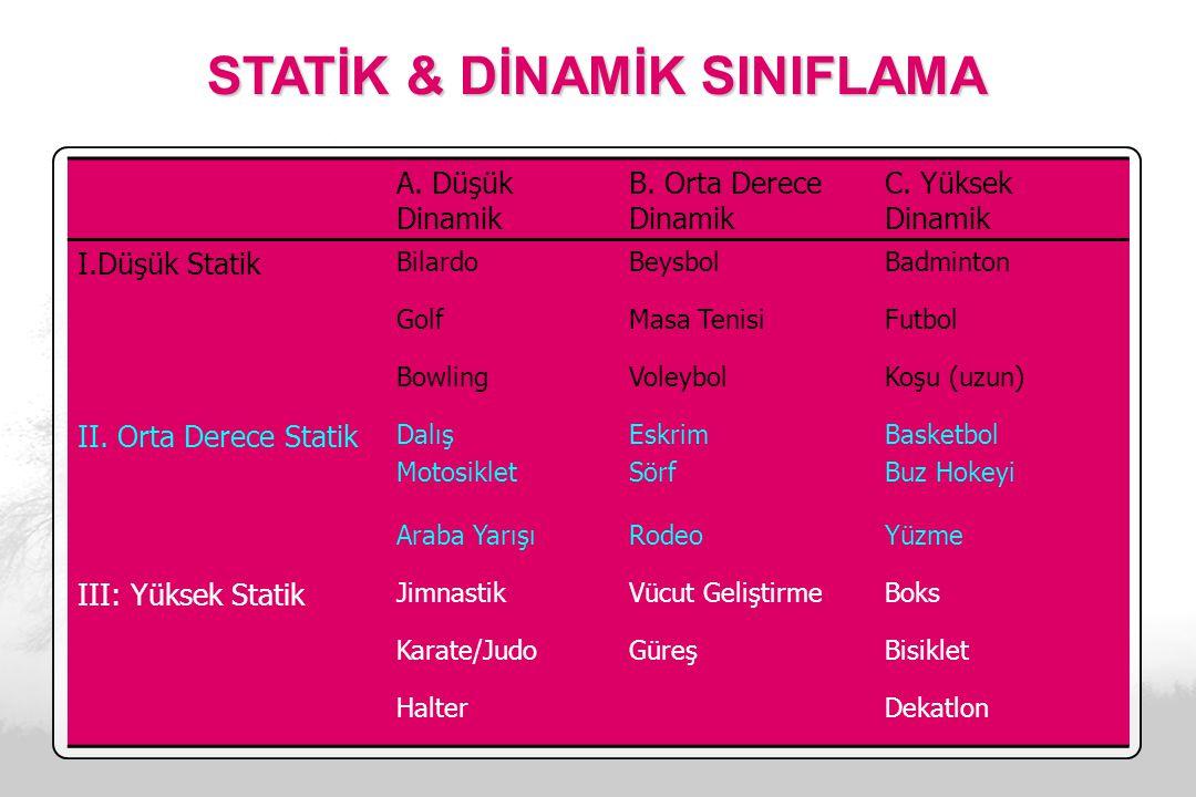 STATİK & DİNAMİK SINIFLAMA A.Düşük Dinamik B. Orta Derece Dinamik C.
