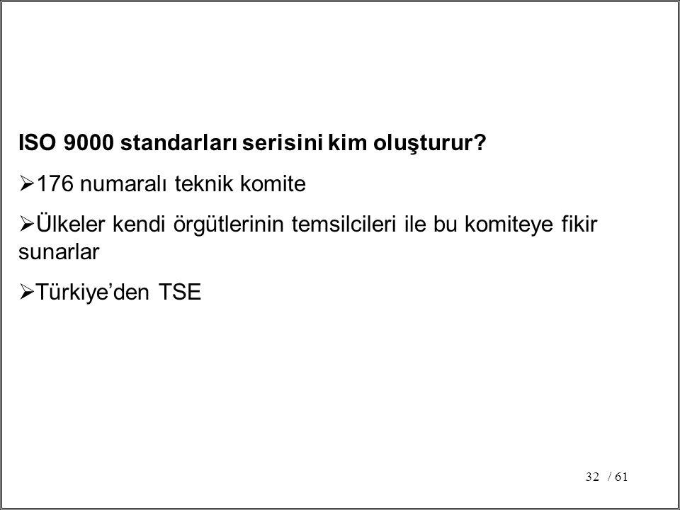 / 6132 ISO 9000 standarları serisini kim oluşturur?  176 numaralı teknik komite  Ülkeler kendi örgütlerinin temsilcileri ile bu komiteye fikir sunar