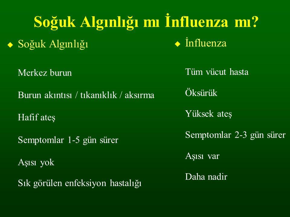 Soğuk Algınlığı mı İnfluenza mı?  Soğuk Algınlığı Merkez burun Burun akıntısı / tıkanıklık / aksırma Hafif ateş Semptomlar 1-5 gün sürer Aşısı yok Sı