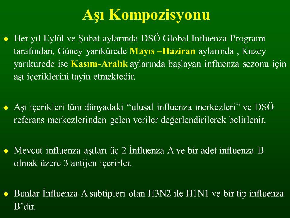Aşı Kompozisyonu  Her yıl Eylül ve Şubat aylarında DSÖ Global Influenza Programı tarafından, Güney yarıkürede Mayıs –Haziran aylarında, Kuzey yarıkür