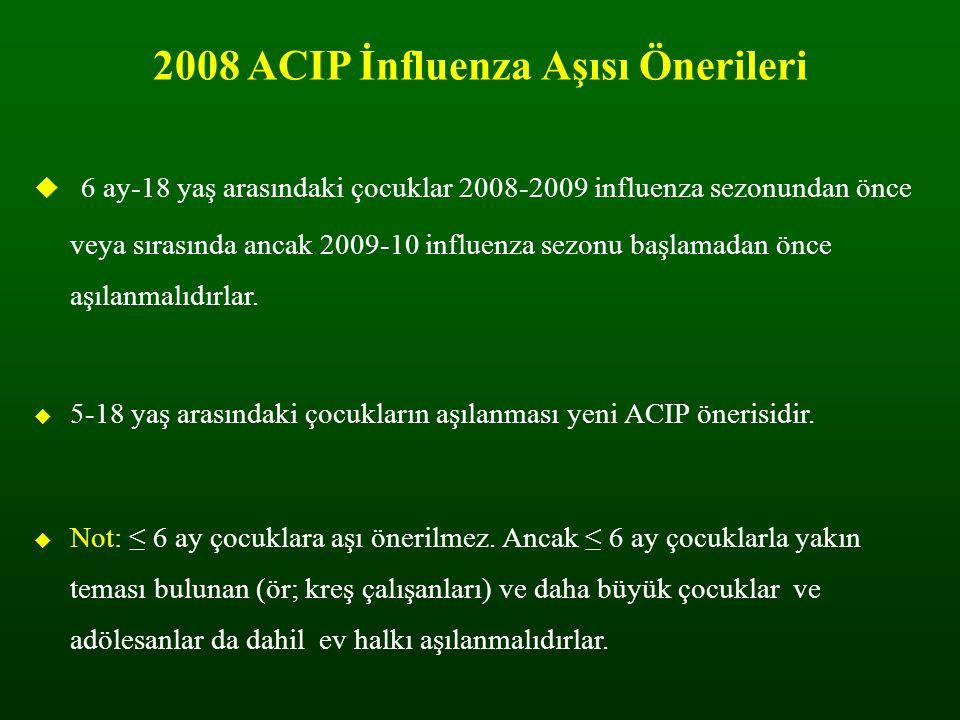 2008 ACIP İnfluenza Aşısı Önerileri  6 ay-18 yaş arasındaki çocuklar 2008-2009 influenza sezonundan önce veya sırasında ancak 2009-10 influenza sezon