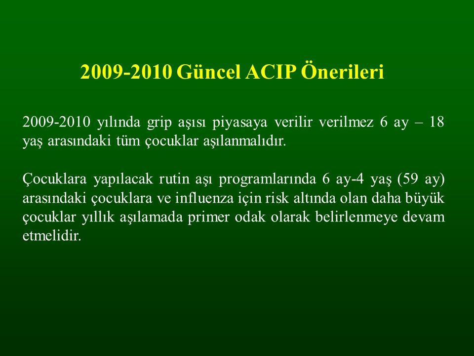 2009-2010 Güncel ACIP Önerileri 2009-2010 yılında grip aşısı piyasaya verilir verilmez 6 ay – 18 yaş arasındaki tüm çocuklar aşılanmalıdır. Çocuklara