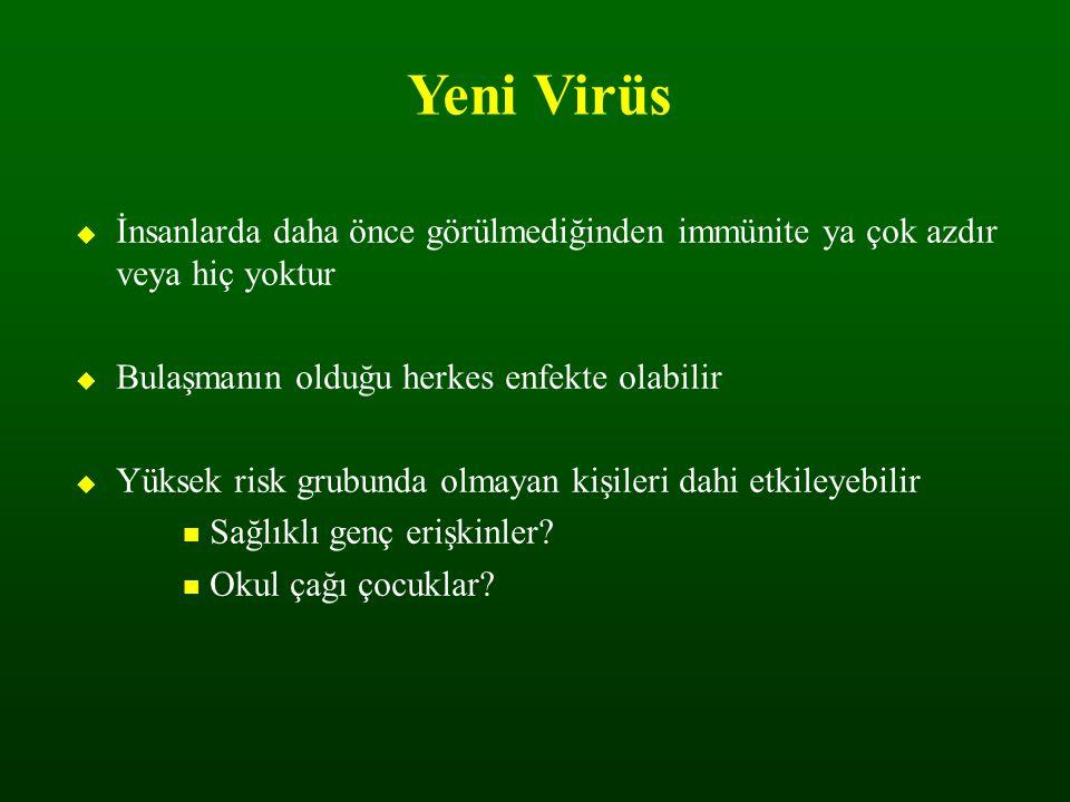 Yeni Virüs  İnsanlarda daha önce görülmediğinden immünite ya çok azdır veya hiç yoktur  Bulaşmanın olduğu herkes enfekte olabilir  Yüksek risk grub