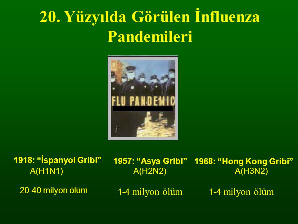 "20. Yüzyılda Görülen İnfluenza Pandemileri A(H1N1)A(H2N2)A(H3N2) 1918: ""İspanyol Gribi"" 1957: ""Asya Gribi"" 1968: ""Hong Kong Gribi"" 20-40 milyon ölüm 1"