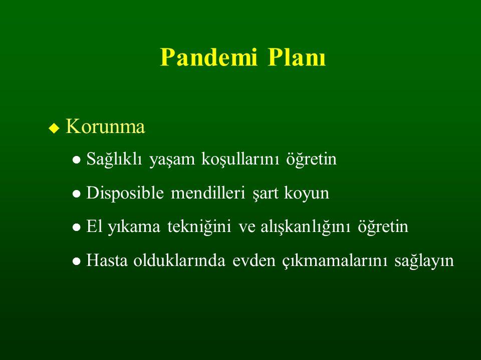 Pandemi Planı  Korunma Sağlıklı yaşam koşullarını öğretin Disposible mendilleri şart koyun El yıkama tekniğini ve alışkanlığını öğretin Hasta oldukla