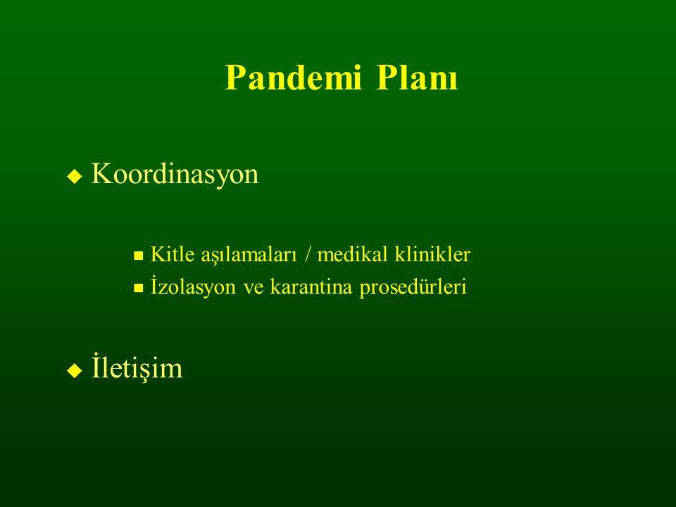 Pandemi Planı  Koordinasyon Kitle aşılamaları / medikal klinikler İzolasyon ve karantina prosedürleri  İletişim
