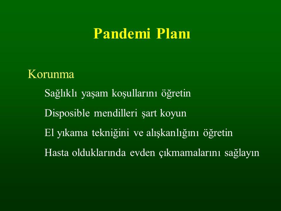 Pandemi Planı Korunma Sağlıklı yaşam koşullarını öğretin Disposible mendilleri şart koyun El yıkama tekniğini ve alışkanlığını öğretin Hasta oldukları