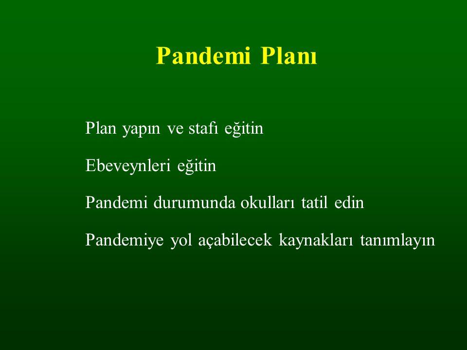 Pandemi Planı Plan yapın ve stafı eğitin Ebeveynleri eğitin Pandemi durumunda okulları tatil edin Pandemiye yol açabilecek kaynakları tanımlayın