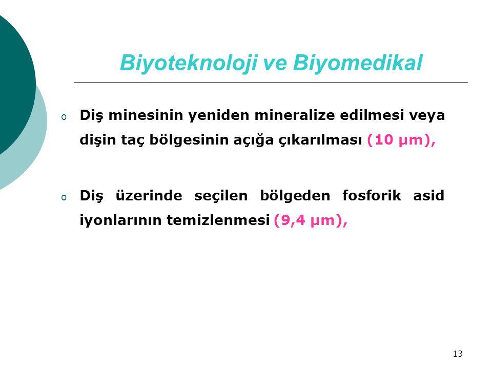 13 Biyoteknoloji ve Biyomedikal o Diş minesinin yeniden mineralize edilmesi veya dişin taç bölgesinin açığa çıkarılması (10 µm), o Diş üzerinde seçile