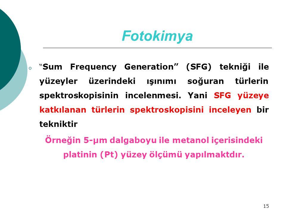 """15 Fotokimya o """" Sum Frequency Generation"""" (SFG) tekniği ile yüzeyler üzerindeki ışınımı soğuran türlerin spektroskopisinin incelenmesi. Yani SFG yüze"""