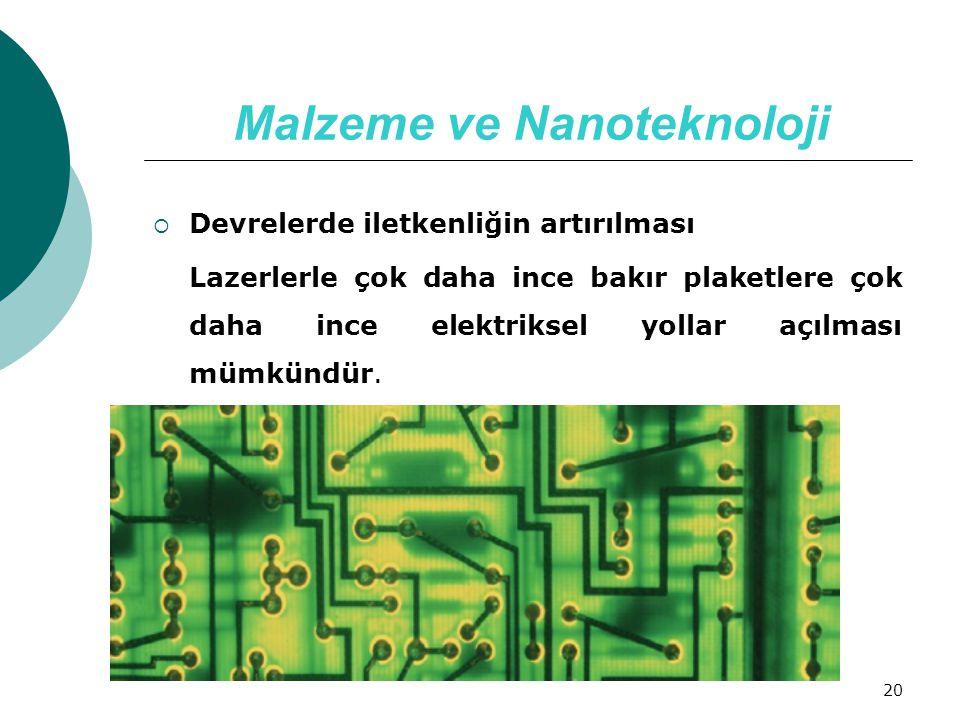 20 Malzeme ve Nanoteknoloji  Devrelerde iletkenliğin artırılması Lazerlerle çok daha ince bakır plaketlere çok daha ince elektriksel yollar açılması