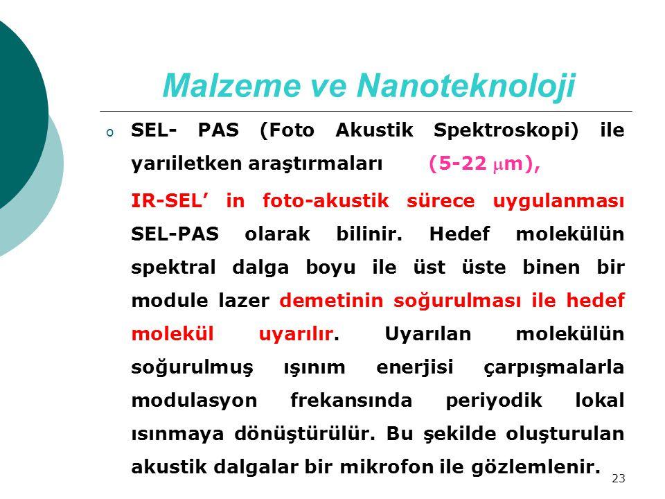 23 Malzeme ve Nanoteknoloji o SEL- PAS (Foto Akustik Spektroskopi) ile yarıiletken araştırmaları (5-22 m), IR-SEL' in foto-akustik sürece uygulanması