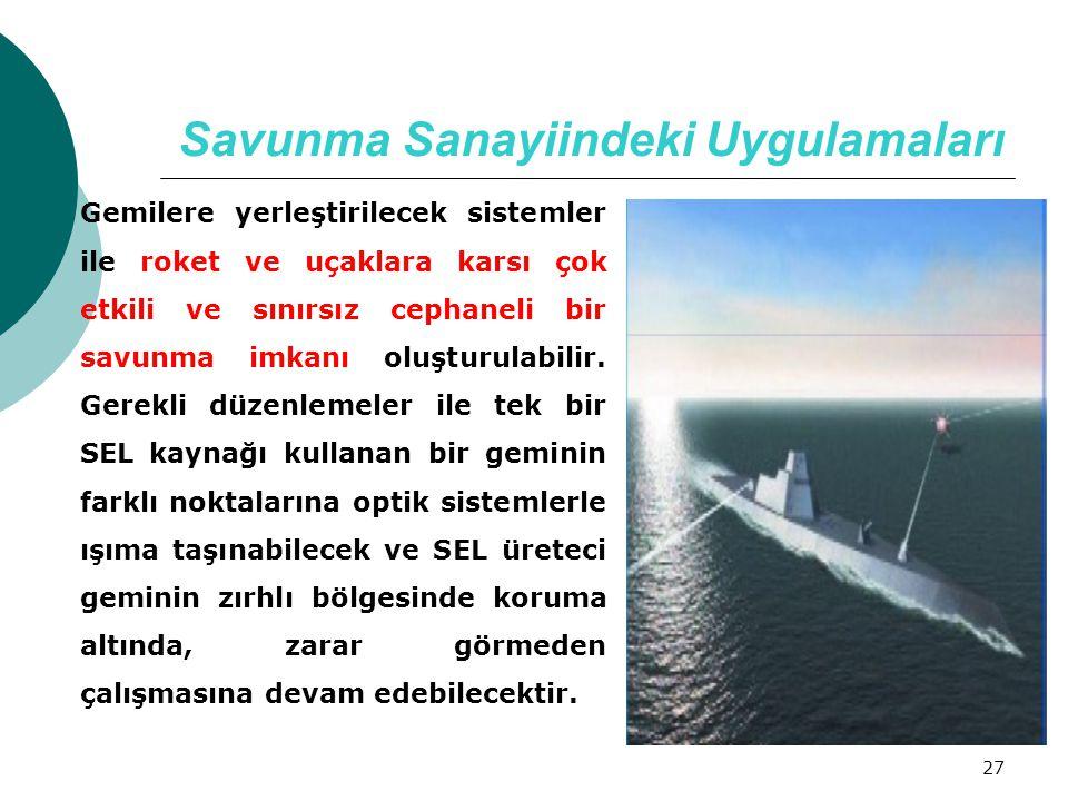 27 Savunma Sanayiindeki Uygulamaları Gemilere yerleştirilecek sistemler ile roket ve uçaklara karsı çok etkili ve sınırsız cephaneli bir savunma imkan