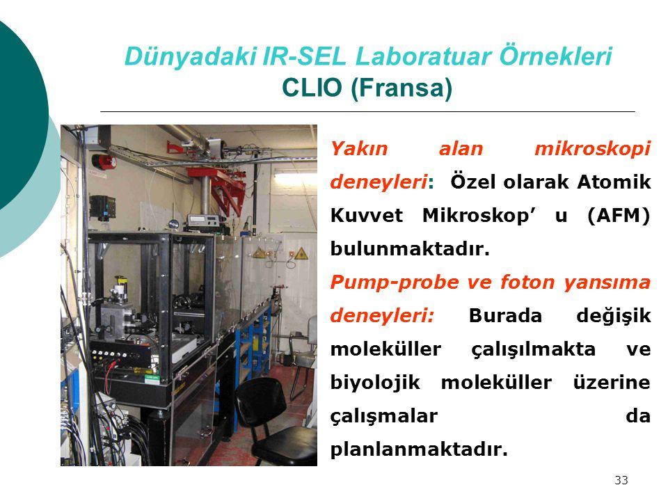 33 Dünyadaki IR-SEL Laboratuar Örnekleri CLIO (Fransa) Yakın alan mikroskopi deneyleri: Özel olarak Atomik Kuvvet Mikroskop' u (AFM) bulunmaktadır. Pu
