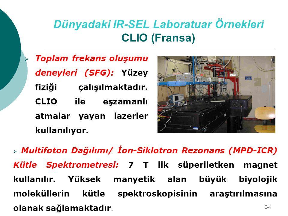 34 Dünyadaki IR-SEL Laboratuar Örnekleri CLIO (Fransa)  Toplam frekans oluşumu deneyleri (SFG): Yüzey fiziği çalışılmaktadır. CLIO ile eşzamanlı atma