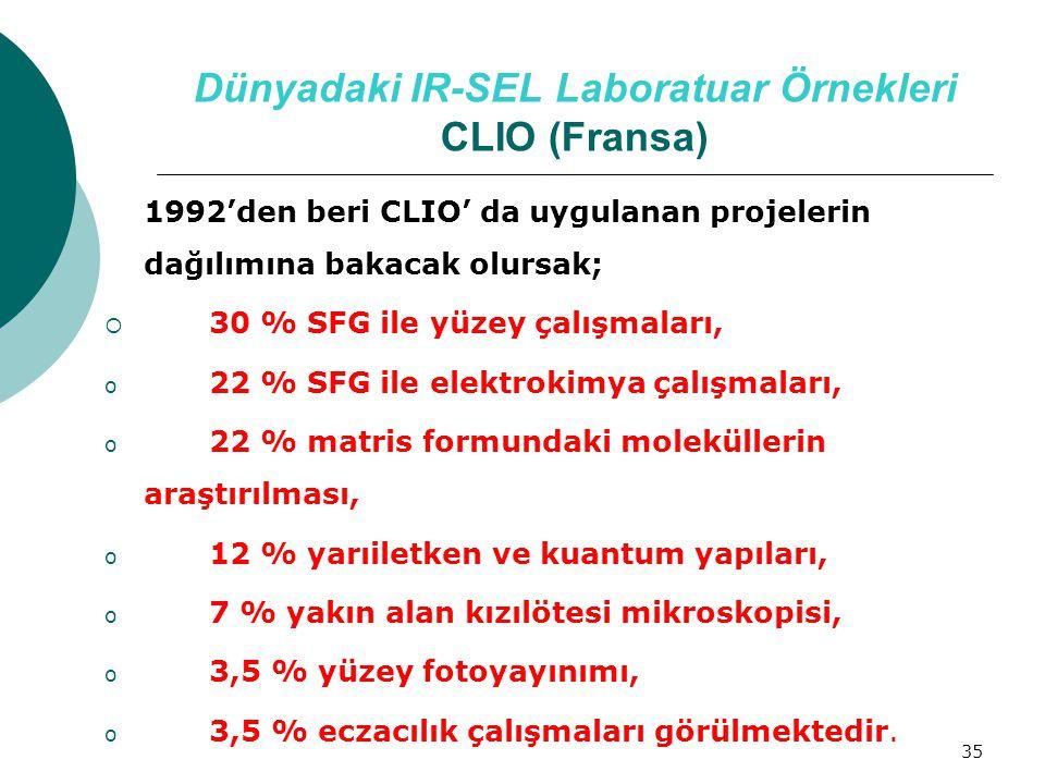 35 Dünyadaki IR-SEL Laboratuar Örnekleri CLIO (Fransa) 1992'den beri CLIO' da uygulanan projelerin dağılımına bakacak olursak;  30 % SFG ile yüzey ça