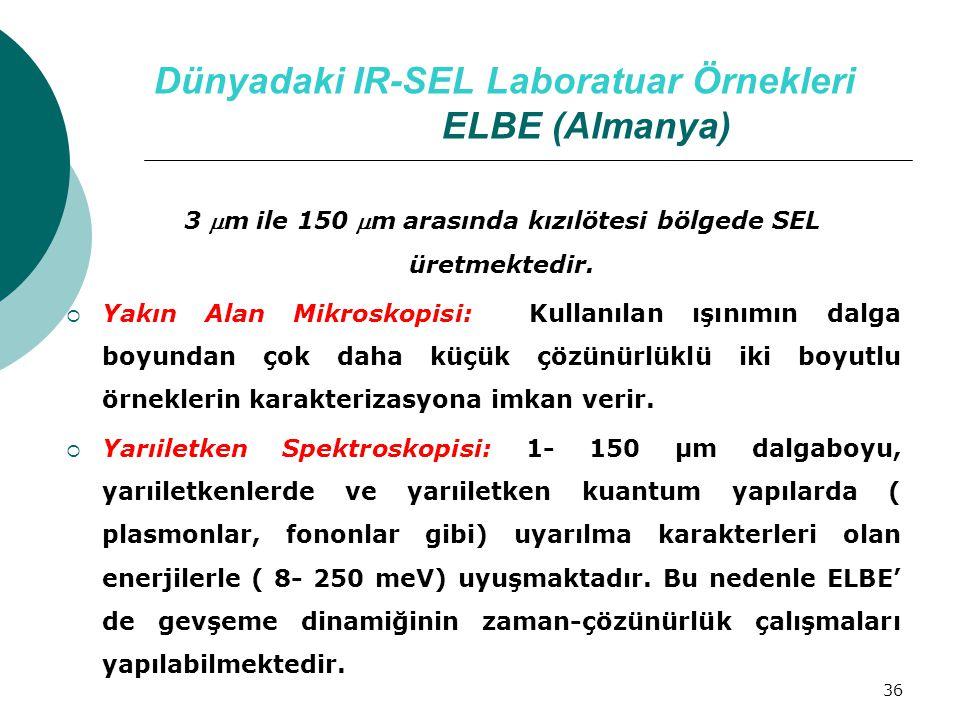 36 Dünyadaki IR-SEL Laboratuar Örnekleri ELBE (Almanya) 3 m ile 150 m arasında kızılötesi bölgede SEL üretmektedir.  Yakın Alan Mikroskopisi: Kulla