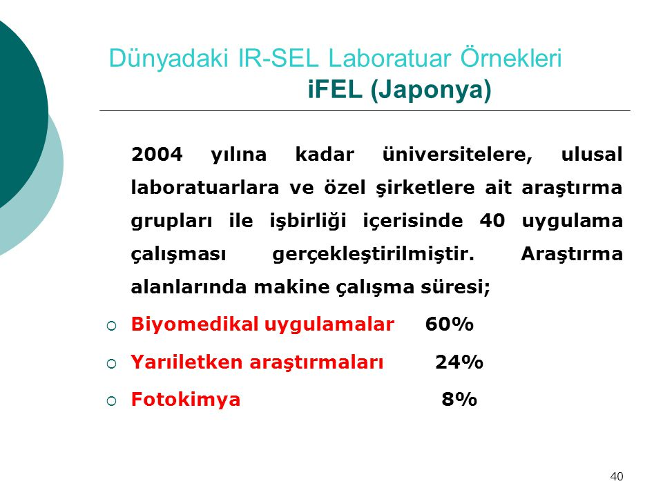 40 Dünyadaki IR-SEL Laboratuar Örnekleri iFEL (Japonya) 2004 yılına kadar üniversitelere, ulusal laboratuarlara ve özel şirketlere ait araştırma grupl