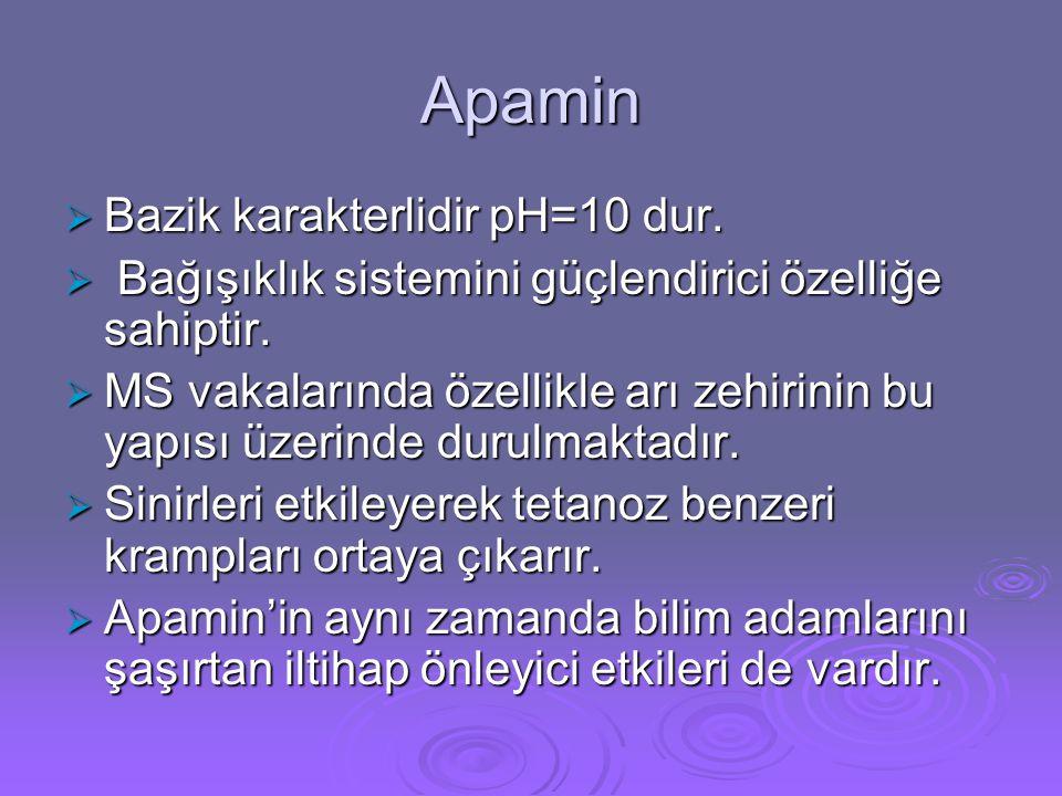 Apamin  Bazik karakterlidir pH=10 dur.  Bağışıklık sistemini güçlendirici özelliğe sahiptir.  MS vakalarında özellikle arı zehirinin bu yapısı üzer