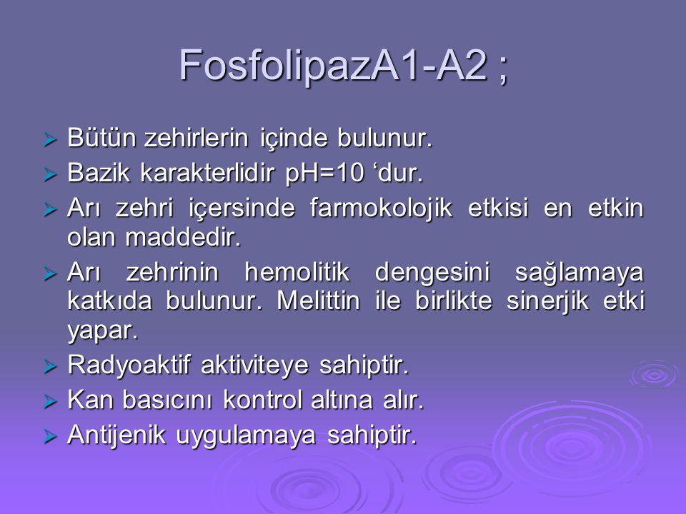 FosfolipazA1-A2 ;  Bütün zehirlerin içinde bulunur.  Bazik karakterlidir pH=10 'dur.  Arı zehri içersinde farmokolojik etkisi en etkin olan maddedi