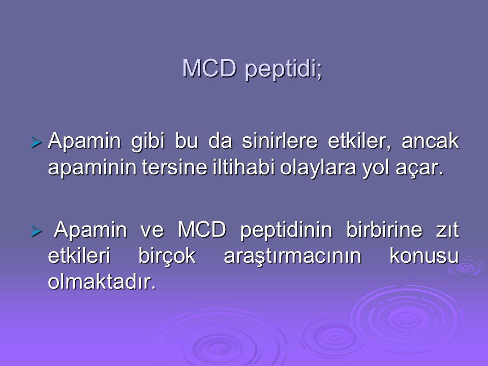 MCD peptidi;  Apamin gibi bu da sinirlere etkiler, ancak apaminin tersine iltihabi olaylara yol açar.  Apamin ve MCD peptidinin birbirine zıt etkile