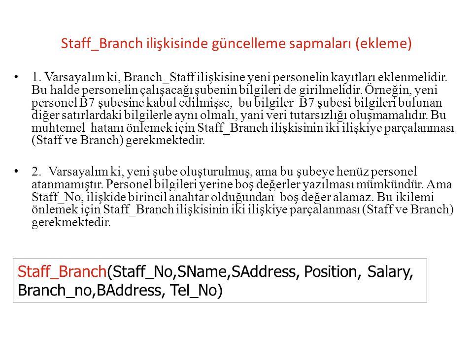 Staff_Branch ilişkisinde güncelleme sapmaları (silme) 1.